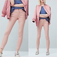Pink Mid Rise Skinny Waxed Coated Jeans Mango Size UK 6 US 2 Zara Blogger ❤