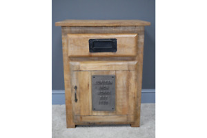 Industrial Reclaimed Mango Wood & Iron Solid Bedside Cabinet - Drawer & Cupboard