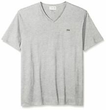 NEW Lacoste Men's Short Sleeve V-Neck Pima Jersey T-Shirt Gray / Silver Chine