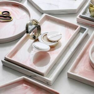 Marble Ceramic Plate Porcelain Bedside Jewelry Makeup Storage Service Tray Decor