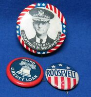 WWII General Wainwright, Third Liberty Loan, Roosevelt Lead Button Pins Lot Of 3