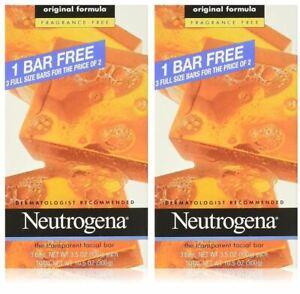 Neutrogena FRAGRANCE-FREE Transparent Facial Cleansing Bar, 3.5 oz, 3 Bars  2pks
