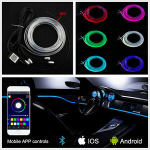 6M RGB Car Interior Neon EL Strip Atmosphere Decor Light Bluetooth Phone Control