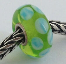 Authentic Trollbeads Murano Glass Turquoise Green Dot Bead Charm, 61169 New