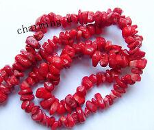 40pz  perline chips  in corallo rosso  5-15mm colore rosso