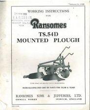 RANSOMES PLOUGH TS54D OPERATORS MANUAL