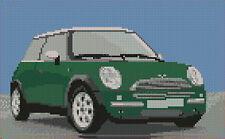 "Mini Cooper Green Counted Cross Stitch Kit 10"" x 6.4"""