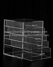 ACRYLIC LUCITE CLEAR CUBE MAKEUP ORGANIZER 5 Pull out Drawers