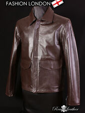 INDIANA JONES Brown Men's INDY US Military Army Real Cowhide Leather Jacket