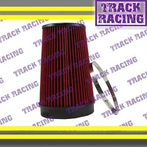 """UNIVERSAL 6 INCHES 6"""" 152mm DIAMETER TRUCK COLD AIR INTAKE DRY FILTER 1989 Red"""