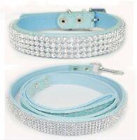 Bling Rhinestone Crystal Jeweled Leather Cat Dog Puppy Pet Collar + Leash set