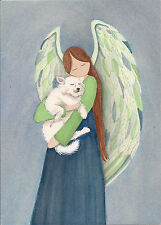 American Eskimo Dog with  Angel / Lynch signed folk art print Samoyed Spitz