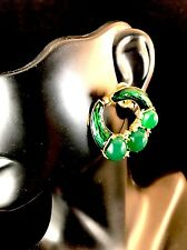 RAREST CROWN TRIFARI EMERALD CABOCHON ENAMEL RHINESTONE L'ORIENT CLIP EARRINGS