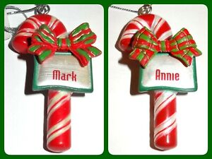 Ganz Candy Cane Christmas Ornament Bow Personalized Red Silver Choose Name JB
