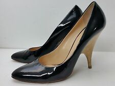 GIUSEPPE ZANOTTI BLACK PATENT LEATHER WOOD HEEL PUMPS HEELS SIZE 40 US 9/9.5