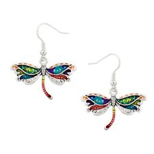 Multi-Color Dragonfly Fashionable Earrings - Fish Hook - Silver Plated
