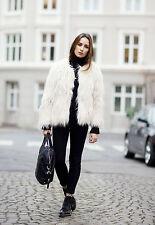 Zara Dusty Pink Short Faux Fur Coat, Size S