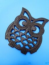 VTG Owl Shaped Black Metal Cast Iron Trivet Large RETRO hot pad pot rest Taiwan