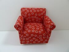 Dolls House Miniature 1.12th Scale Furniture Lounge Modern Red Pattern Chair