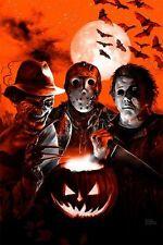 Quadro con disegno mosaico personaggi film horror Krueger Halloween Venerdi 13