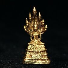 Phra Nak Prok Buddha Thai Amulet Luck Protection Collectible Mini Brass Statue