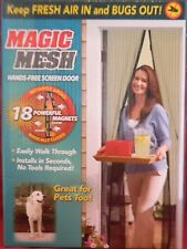 New Magic Mesh Hands-Free Screen Door with magnets AS SEEN ON TV  <RETAIL BOX>