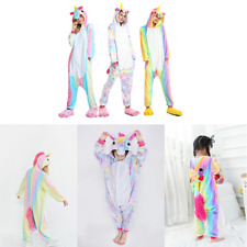 Erwachsene&Kinder Regenbogen Einhorn Kigurumi Tier Cosplay Kostüm Onesie1 Pyjama