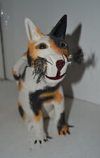 Wood Hand Painted Calico Cat Figure Kitten Kitty