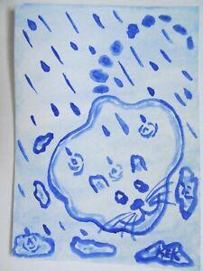 ACEO Original Watercolor Cat Kitty Feline Blue Rain Puddle Puss No 132 by KEK