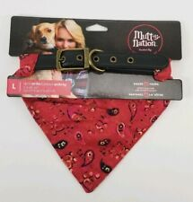 Mutt Nation Leather Dog Collar Paisly Bandana Red Large Up To 90lbs Hankercheif