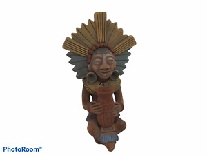 Mexican Pottery Warrior Mayan Aztec Terra Cotta Clay Statue signed