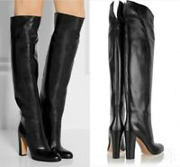 Womens High Block Heel Knight Shoes Leather OL Over Knee Thigh Boots Pull On SZ