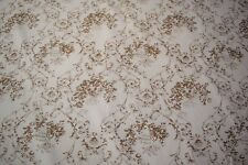 """Light Brown Toile Print Flax Linen Fabric 57""""W Upholstery BTY Natural Fiber"""