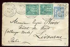 Entier postal type Sage + complément de Paris pour l' Italie en 1888 - N51