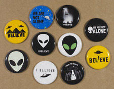 "Alien UFO Buttons X10 Pins 1.25"" I believe we are not alone"