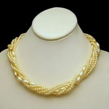 Vintage Necklace Faux Pearls Mid Century 5 Multi Strands Torsade Style Bridal
