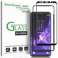 Samsung Galaxy S9 Screen Protector | amFilm 3D Curved Tempered Glass (1 Pack)