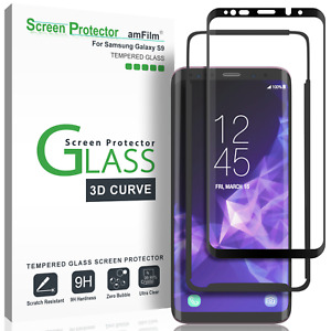 Samsung Galaxy S9 Screen Protector   amFilm 3D Curved Tempered Glass (1 Pack)