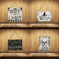 1x Hanging Signs Trick Or Treat Skull Witch For Happy Halloween Party Door Decor