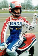 Randy MAMOLA SIGNED 12x8 Photo Autograph AFTAL COA HONDA USA Rider MOTOGP