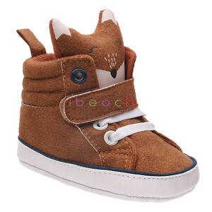 Newborn Baby Infant Girl Boy 3D Fox Crib Shoes Brown High top Boots 0-18 Months