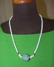 Chic Turquoise Mother of Pearl Focal Ball & White Bead Matinee Length Necklace
