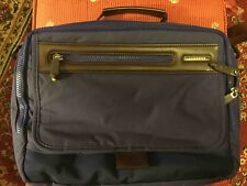 Men's AceGene Preowned Messenger/Travel Bag. Stylish. Dark Blue & Brown.