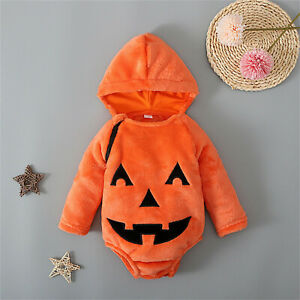 Infant Baby Boys Girls Halloween Rompers Pumpkin Hooded Fleece Jumpsuit Clothing