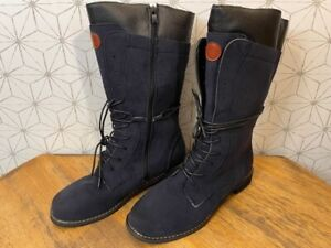 ROSY Mid Shaft Lace Up Combat Boots Women's EUR 42 / US 10.5 Navy