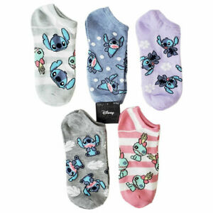 5 PACK NWT LILO & STITCH DISNEY CUTE WOMEN'S NO SHOW SOCKS 9-11 SHOE SIZE 4-10