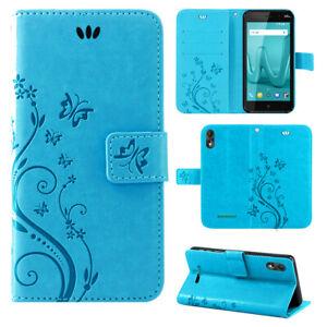 Wiko Lenny 4 Plus Handy Tasche Handyhülle Wallet Schutz Hülle Blumen Flip Cover
