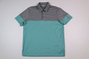 Adidas Mens Large Golf Polo Shirt Polyester Gray Green Color Block