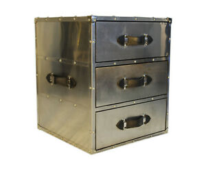Handmade Designer Stainless Steel Bedside with 2 Drawer