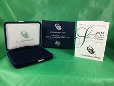 2016 W US Mint American Silver Eagle Proof Case, Box, COA -No Coin